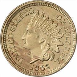 1862 Indian Cent AU Slider Uncertified
