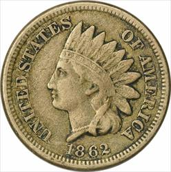 1862 Indian Cent, VF, Uncertified