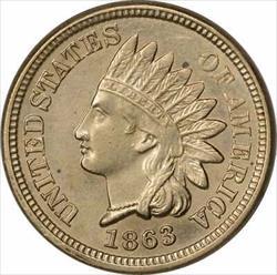 1863 Indian Cent BU Uncertified