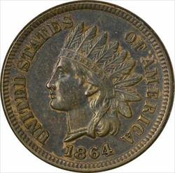 1864 Indian Cent, L on Ribbon, AU, Uncertified