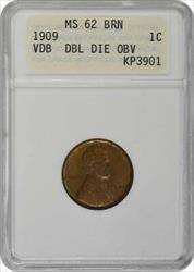 1909 VDB Lincoln Cent, DDO FS-1101, BN, ANACS