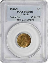 1909-S Lincoln Cent, RB, PCGS