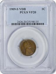 1909-S VDB Lincoln Cent, VF20, PCGS