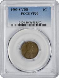 1909-S VDB Lincoln Cent, VF30, PCGS
