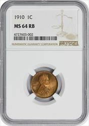 1910-P Lincoln Cent, RB, NGC