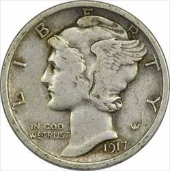 1917 Mercury  Dime EF Uncertified