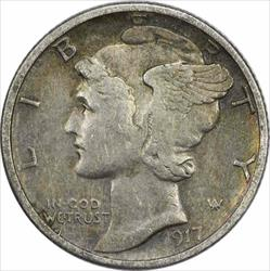 1917 S Mercury  Dime EF Uncertified