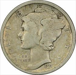 1917 S Mercury  Dime VF Uncertified