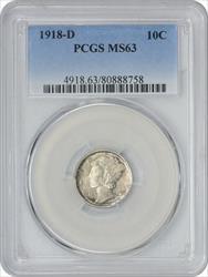 1918 D Mercury  Dime PCGS