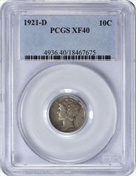 1921 D Mercury  Dime EF40 PCGS