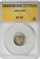 1921 D Mercury  Dime VF20 ANACS