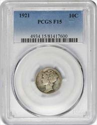 1921 P Mercury  Dime F15 PCGS