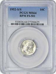 1952 S/S Roosevelt  Dime RPM FS 501 PCGS