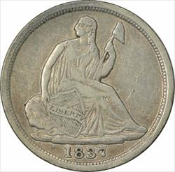 1837 Liberty Seated  Half Dime No Stars Small Date EF Uncertified