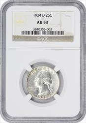 1934 D Washington Quarter  NGC