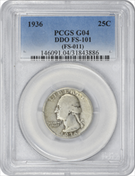 1936 Washington  Quarter DDO FS 101 VG10 PCGS