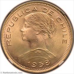 1958-So Gold 100 Pesos Chile NGC MS66