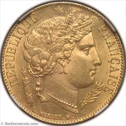 1851-A Gold 20 Francs France NGC MS65