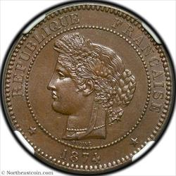 1874-A 10 Centimes France NGC MS64BN