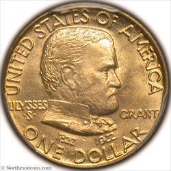 1922 Grant No Star Dollar Gold Commem PCGS MS65