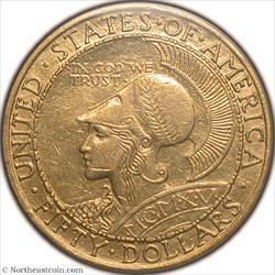 1915-S $50 Pan-Pac Round Gold Commem PCGS AU55