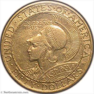 1915-S $50 Pan-Pac Round Gold Commem PCGS AU55