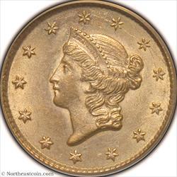 1851 Gold Dollar PCGS MS62