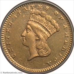 1873 Closed 3 Gold Dollar PCGS MS61