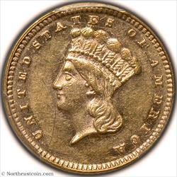 1876 Gold Dollar PCGS AU58