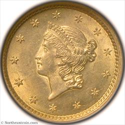 1853 Gold Dollar NGC MS63