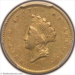 1855-O Gold Dollar PCGS AU50