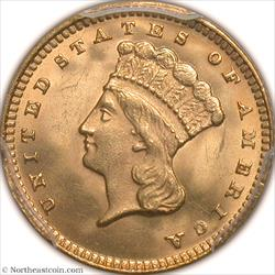 1874 Gold Dollar PCGS MS66