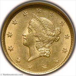 1851-O Gold Dollar NGC MS63
