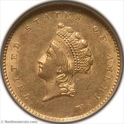 1855 Gold Dollar NGC MS62