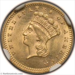 1873 Closed 3 Gold Dollar NGC MS63