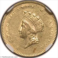 1854 Type 2 Gold Dollar NGC AU58