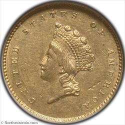 1856-S Gold Dollar NGC AU58