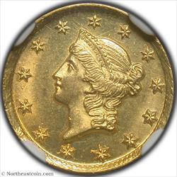 1849-D Gold Dollar NGC MS62