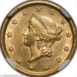1853 Gold Dollar NGC AU58