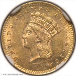 1860-S Gold Dollar NGC MS60