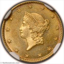 1849 Open Wreath Gold Dollar NGC MS65+