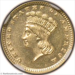 1857-D Gold Dollar NGC MS63