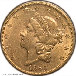 1860-S Gold Double Eagle PCGS AU58