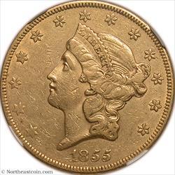 1855 Gold Double Eagle NGC AU55