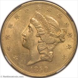 1850 Gold Double Eagle NGC MS61+