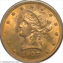 1907 Liberty Gold Eagle PCGS MS63
