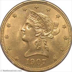 1907 Liberty Gold Eagle PCGS MS64