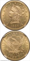 1883-CC Gold Eagle NGC AU58+