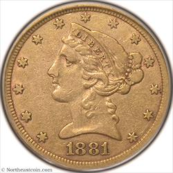 1881-CC Gold Half Eagle PCGS VF35