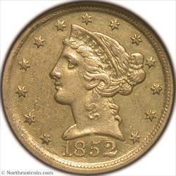 1852-D Gold Half Eagle NGC AU58